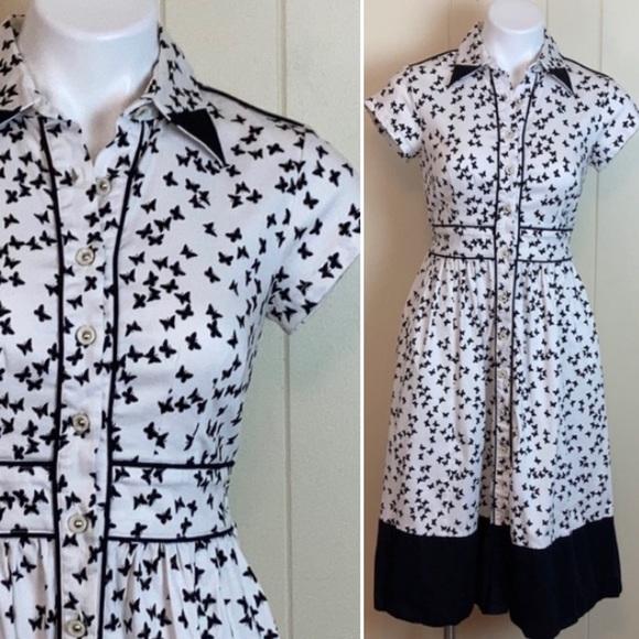 eShakti Vintage Style Retro Butterfly Shirt Dress